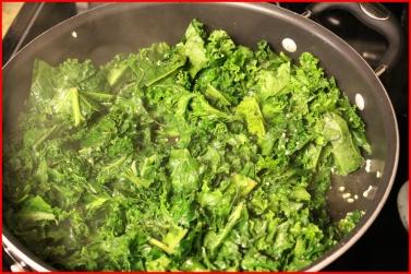 sautéing the kale