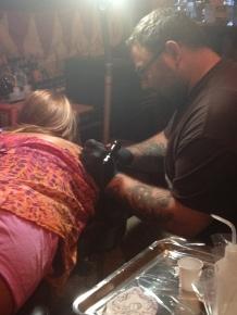 My mom getting her tattoo by Robert Jarrett at 2 Ton Tattoo Gallery in Kingsport, TN