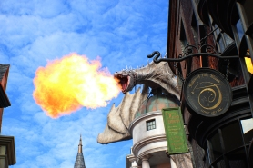 Fire-breathing atop Gringotts