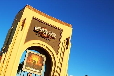 Entrance at Universal Studios at sundown