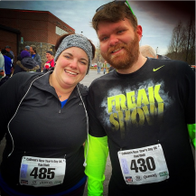 Post race with Alli at the Calhoun's New Year's Day 5k on January 1, 2015