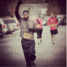 Crossing the finish at the Zen Evo Chocolate Lover's Valentine 5k on Valentine's Day, 2015