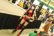 Roller derby style Harley Quinn cosplay