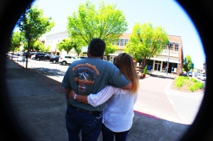 My folks hugging from behind