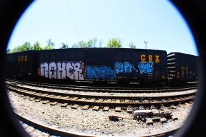Train graffiti in downtown Kingsport, Tennessee