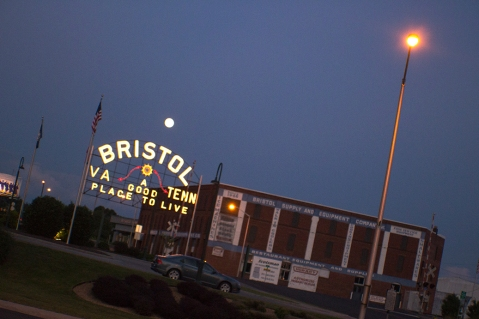 The moon over the Tennessee side of Bristol shot from the Virginia side