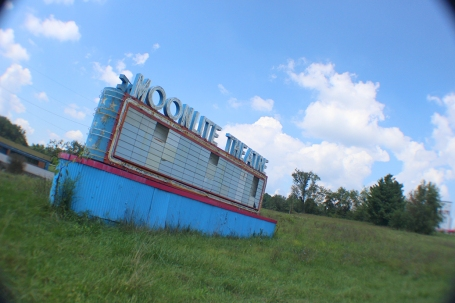 Front side sign at the Moonlite Theatre in Abingdon, VA