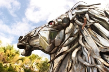 In the parking lot, this horse was made from scrap metal