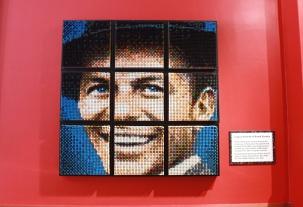 Frank Sinatra made entirely of crayons